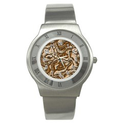Fractal Background Mud Flow Stainless Steel Watch by Simbadda