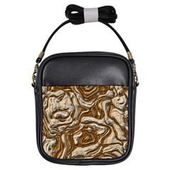 Fractal Background Mud Flow Girls Sling Bags by Simbadda