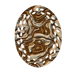 Fractal Background Mud Flow Oval Filigree Ornament (two Sides) by Simbadda