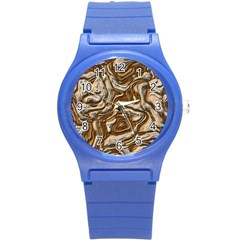 Fractal Background Mud Flow Round Plastic Sport Watch (s) by Simbadda