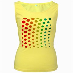 Polka Dot Pink Green Blue Women s Yellow Tank Top by Mariart