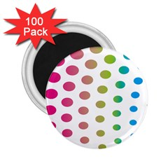 Polka Dot Pink Green Blue 2 25  Magnets (100 Pack)  by Mariart