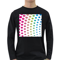 Polka Dot Pink Green Blue Long Sleeve Dark T Shirts by Mariart