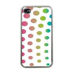 Polka Dot Pink Green Blue Apple Iphone 4 Case (clear)