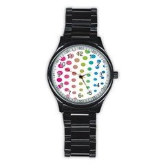 Polka Dot Pink Green Blue Stainless Steel Round Watch by Mariart