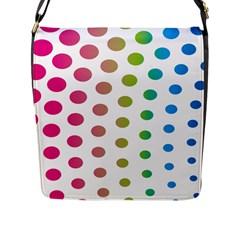 Polka Dot Pink Green Blue Flap Messenger Bag (l)  by Mariart