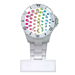 Polka Dot Pink Green Blue Plastic Nurses Watch by Mariart