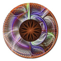 Background Image With Hidden Fractal Flower Magnet 5  (round) by Simbadda