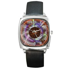 Background Image With Hidden Fractal Flower Square Metal Watch by Simbadda