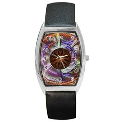 Background Image With Hidden Fractal Flower Barrel Style Metal Watch by Simbadda