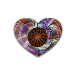 Background Image With Hidden Fractal Flower Rubber Coaster (heart)  by Simbadda