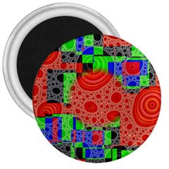 Background With Fractal Digital Cubist Drawing 3  Magnets by Simbadda