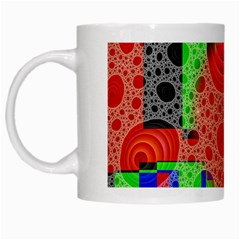 Background With Fractal Digital Cubist Drawing White Mugs by Simbadda