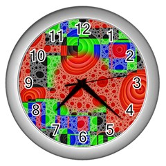 Background With Fractal Digital Cubist Drawing Wall Clocks (silver)  by Simbadda