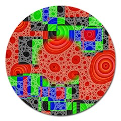 Background With Fractal Digital Cubist Drawing Magnet 5  (round) by Simbadda