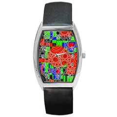 Background With Fractal Digital Cubist Drawing Barrel Style Metal Watch by Simbadda
