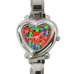 Background With Fractal Digital Cubist Drawing Heart Italian Charm Watch by Simbadda