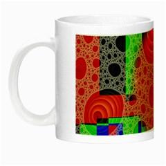 Background With Fractal Digital Cubist Drawing Night Luminous Mugs by Simbadda