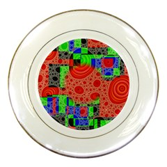 Background With Fractal Digital Cubist Drawing Porcelain Plates by Simbadda
