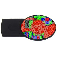 Background With Fractal Digital Cubist Drawing Usb Flash Drive Oval (4 Gb) by Simbadda