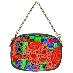 Background With Fractal Digital Cubist Drawing Chain Purses (two Sides)  by Simbadda
