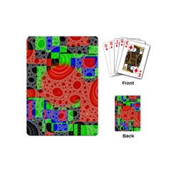 Background With Fractal Digital Cubist Drawing Playing Cards (Mini)  by Simbadda