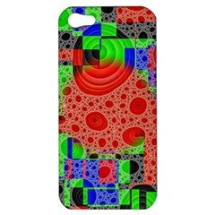 Background With Fractal Digital Cubist Drawing Apple Iphone 5 Hardshell Case by Simbadda