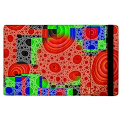 Background With Fractal Digital Cubist Drawing Apple Ipad 3/4 Flip Case by Simbadda