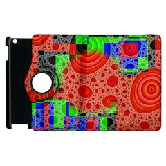 Background With Fractal Digital Cubist Drawing Apple Ipad 2 Flip 360 Case by Simbadda