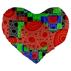 Background With Fractal Digital Cubist Drawing Large 19  Premium Heart Shape Cushions by Simbadda