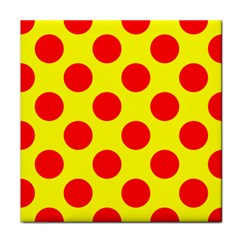 Polka Dot Red Yellow Tile Coasters by Mariart