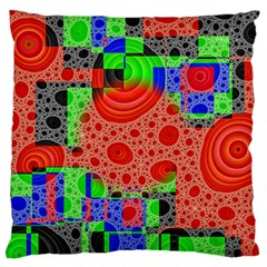 Background With Fractal Digital Cubist Drawing Large Flano Cushion Case (two Sides) by Simbadda