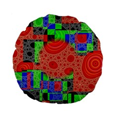 Background With Fractal Digital Cubist Drawing Standard 15  Premium Flano Round Cushions by Simbadda