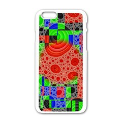 Background With Fractal Digital Cubist Drawing Apple Iphone 6/6s White Enamel Case by Simbadda
