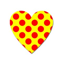 Polka Dot Red Yellow Heart Magnet by Mariart