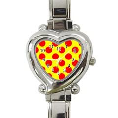 Polka Dot Red Yellow Heart Italian Charm Watch by Mariart
