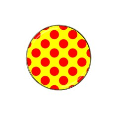 Polka Dot Red Yellow Hat Clip Ball Marker (4 Pack) by Mariart