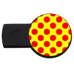 Polka Dot Red Yellow Usb Flash Drive Round (4 Gb) by Mariart