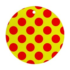 Polka Dot Red Yellow Round Ornament (two Sides) by Mariart