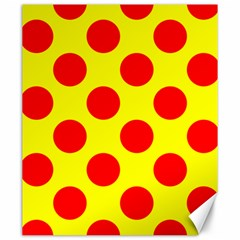 Polka Dot Red Yellow Canvas 20  X 24   by Mariart