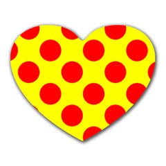 Polka Dot Red Yellow Heart Mousepads by Mariart