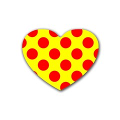 Polka Dot Red Yellow Rubber Coaster (heart)  by Mariart
