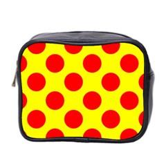 Polka Dot Red Yellow Mini Toiletries Bag 2 Side by Mariart