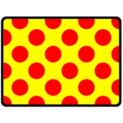 Polka Dot Red Yellow Fleece Blanket (large)  by Mariart