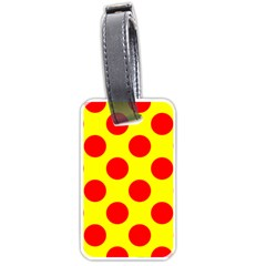Polka Dot Red Yellow Luggage Tags (two Sides) by Mariart
