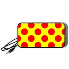 Polka Dot Red Yellow Portable Speaker (black) by Mariart