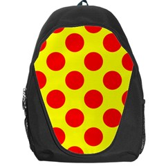 Polka Dot Red Yellow Backpack Bag by Mariart