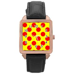 Polka Dot Red Yellow Rose Gold Leather Watch  by Mariart