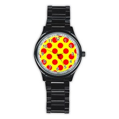 Polka Dot Red Yellow Stainless Steel Round Watch by Mariart