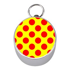 Polka Dot Red Yellow Mini Silver Compasses by Mariart